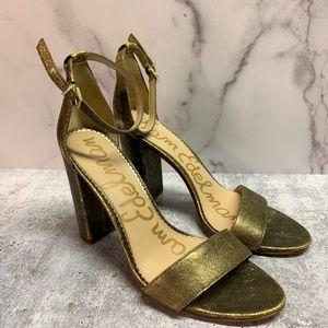 Sam Edelman Yaro Ankle Strap Sandal Heel Gold